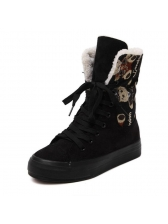 Winter Lace Printed Lace Up Female Snow Boots