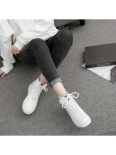 Vintage Style Letter Lace Up High Top Sneakers