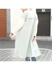 Hot Sale Contrast Color Ripped Boyfriend Long Coat