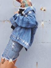 Fashion Hot Sale Hot Drilling Striped Denim Jacket