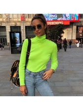 Casual High Neck Plain Fitted Long Sleeve Knit Top