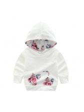Casual Flowers Design Baby Girls Hoodies