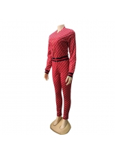 Sporty Style Stand Neck Fish Scale Printing Tracksuit