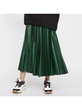 Temperament Pleated Pu Maxi Skirt For Women