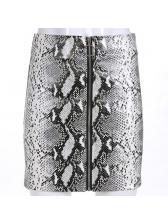 Euro Hot Sale Snake Printed Zip Pu Wrap Skirt