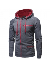 Fashion Solid Patchwork Fitted Casual Zipper Men Hoodies