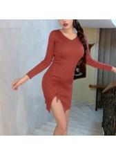 Fashion V Neck Lace Up Plain Asymmetrical Knit Dress