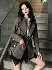 Simple Design Contrasting Colors Lapel Wholesale Women Coat