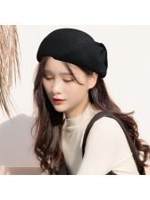 Korean Design Solid Warm Beret For Women