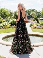 Backless V Neck Flowy Embroidery Evening Dress