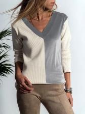 V Neck Contrast Color Fitted T-Shirt Online