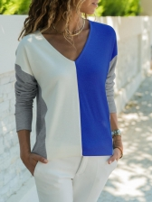 Casual V Neck Contrast Color Loose T-Shirt