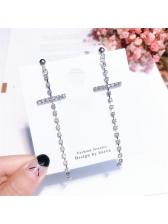 Characteristic Rhinestone Cross Design Tassels Earring