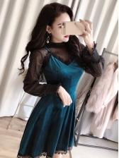 Vintage Gauze Black Top With Velvet Dress