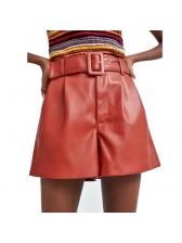 Fashionable Pu Wide Leg Shorts With Belt