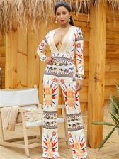 Hot Sale Printed Plunging V-Neck Loose Jumpsuits