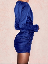Hot Sale Solid Fitted High Neck Pleated Dress