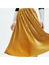 Fashion High Waisted Velvet Pleated Skirt