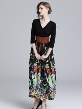 V Neck Printed Patchwok Fitted Classy Dresses