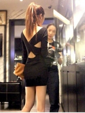 Night Club V Neck Knitted Cut Out Dress