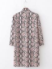 Snake Print Turndown Collar Single-breasted Twist Shirt Dress