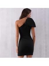 Boutique Hot Sale Fitted Inclined Shoulder Black Dress