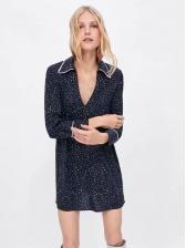 Euro Dots Turndown Collar Casual Dresses