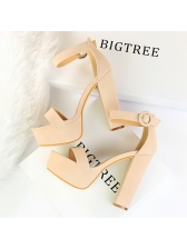 Simple Design A-Buckle Belt Platform Tan Heels