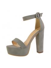 Simple Design A-Buckle Belt Peep Platform Tan Heels