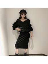 Simple Design Pleated Wholesale Black Skirt
