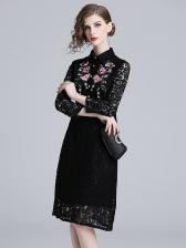 Elegant Embroidery Turndown Collar Lace Dress