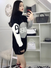 High Neck Contrast Color Letter Sweater Dress