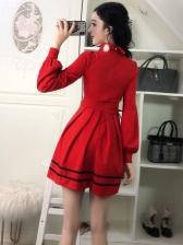 Hollow Out Lantern Sleeve Turndown Collar Women Dresses