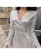 Sexy V Neck A Line Sequin Dress