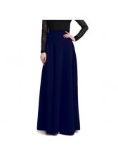 Fashion High Waisted Plain Pleated Maxi Skirt