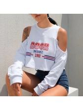 Hot Sale Printed Off Shoulder Crop Sweatshirt