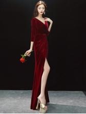 Ladies V Neck Velvet Split Floor Length Dress