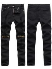 New Arrival Solid Fitted Zips Casual Ripped Jeans