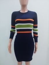 Striped Color Block Knitted Elegant Dresses