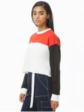 Hot Sale Contrasting Colors Loose Sweatshirt