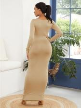 Simple Style Crew Neck Bodycon Dress