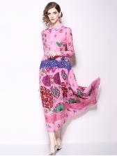 Lace Flower Print Pink Long Sleeve Maxi Dress