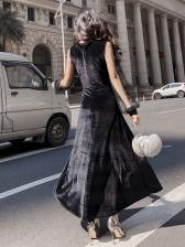 Velvet Patchwork Gauze Black Vintage Dresses