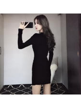 Hollow Out Knitted Crew Neck Fitted Black Dress