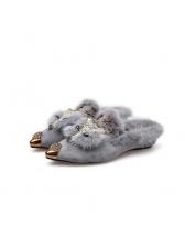 Winter Fur Point Warm Flats Slippers