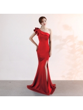 Ruffle Split Floor Length Inclined Shoulder Dress