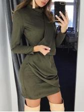 Hot Sale Solid Patchwork Irregular Long Sleeves Dress
