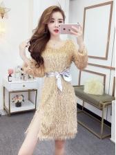 Fashion Tassels Binding Bow V Neck Sequin Dress