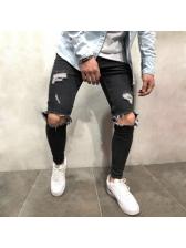 New Arrival Solid Versatile Destroyed Jeans For Men
