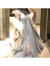 Beautiful Perspective Gauze Pleated 2 Pieces Dresses